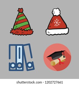 cap icon set. vector set about graduation, hat, winter hat and blinder icons set.