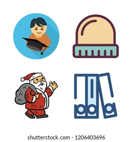 cap icon set. vector set about winter hat, blinder, graduate and santa claus icons set.