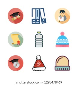 cap icon set. vector set about water bottle, winter hat, blinder and graduation icons set.