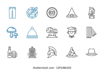 cap icons set. Collection of cap with hat, wizard, helmet, police box, beer, scarf, graduate, mushroom, winter hat, mushrooms, witch hat, bottle cap. Editable and scalable cap icons.