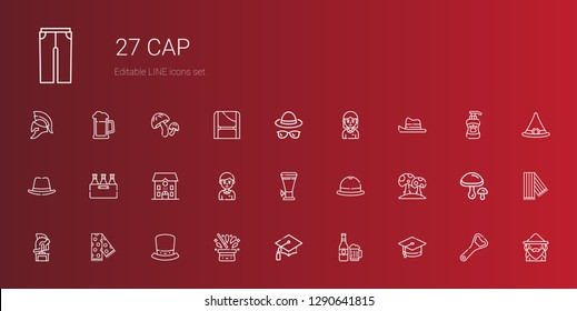 cap icons set. Collection of cap with mortarboard, beer, graduation, hat, scarf, helmet, mushroom, student, school, wizard, bottle opener, mushrooms. Editable and scalable cap icons.