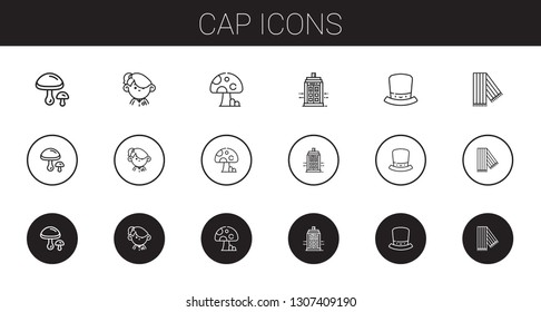 cap icons set. Collection of cap with mushrooms, student, mushroom, police box, hat, scarf. Editable and scalable cap icons.