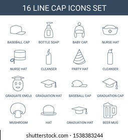 cap icons. Trendy 16 cap icons. Contain icons such as baseball cap, bottle soap, baby nurse hat, cleanser, party hat, graduate emoji, graduation hat. icon for web and mobile.