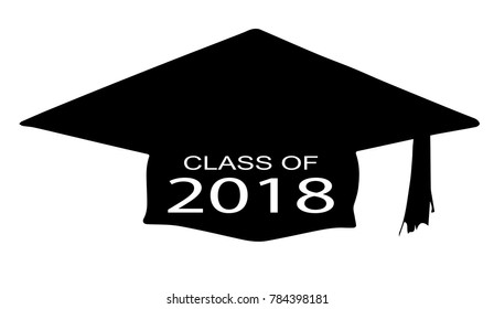 A cap with the legend Class of 2018 over a white background