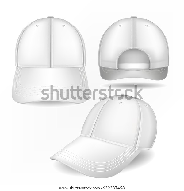 Cap mockup in front, side and back views. Vector template. Fully editable handmade mesh. Realistic hat set used for advertising labels, logo, emblem design or textile goods, for websites.