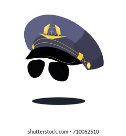 cap pilot with sunglasses blue with logo and glasses