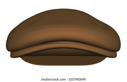 Cap in retro style with a small visor. Brown color. 3D. Vector illustration. Front view.