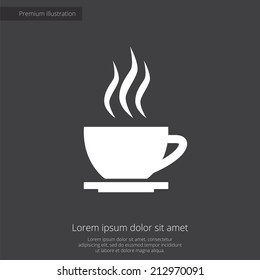 cap of tea premium illustration icon, isolated, white on dark background, with text elements