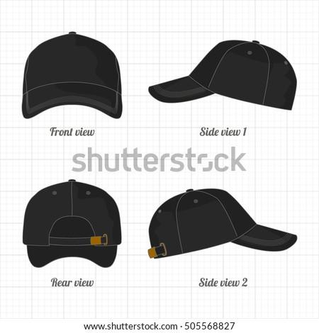 cap template set front side back のベクター画像素材 ロイヤリティ