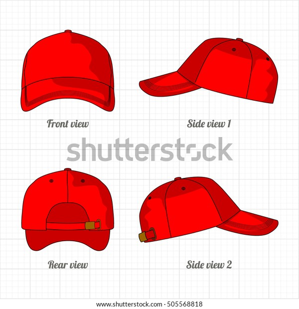 39bfce37 Cap Template Set Front Side Back Stock Vector (Royalty Free) 505568818