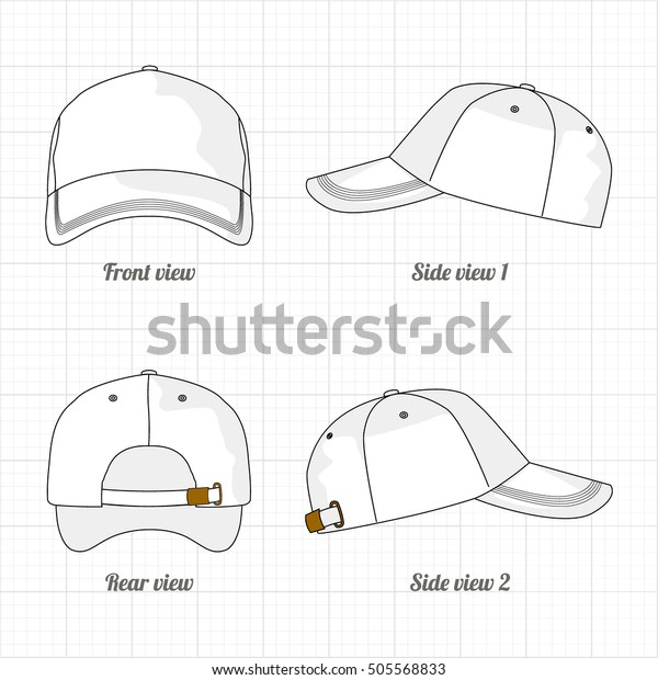 31572c1b Cap Template Set Front Side Back Stock Vector (Royalty Free) 505568833