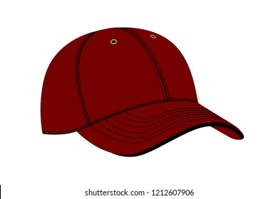 Cap in vector on white background.Baseball cap in vector on white background.