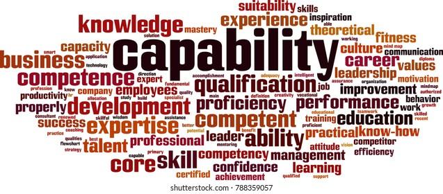 Capability word cloud concept. Vector illustration