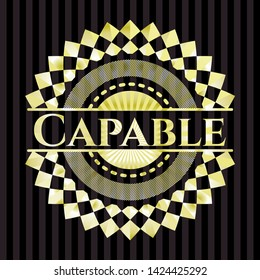 Capable gold badge or emblem. Vector Illustration. Detailed.