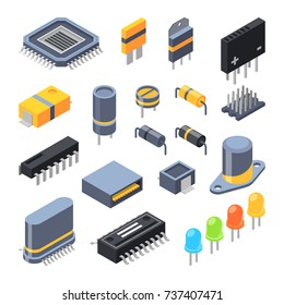 Capacitor, different chips, semiconductor and electrical components for electronic parts. Vector electrical component technology illustration