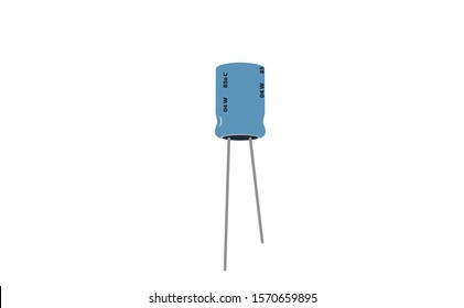 Capacitor icon of electronic part in the electrical engineering icons. Electrolytic capacitor illustration in the vector not a ceramic capacitors.