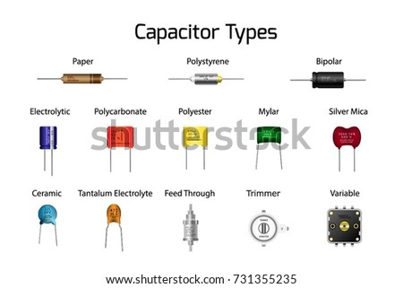 Capacitors Types Infographics Diagram Types Such Stock Vector