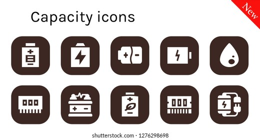 capacity icon set. 10 filled capacity icons. Simple modern icons about  - Battery, Liquify, Ram