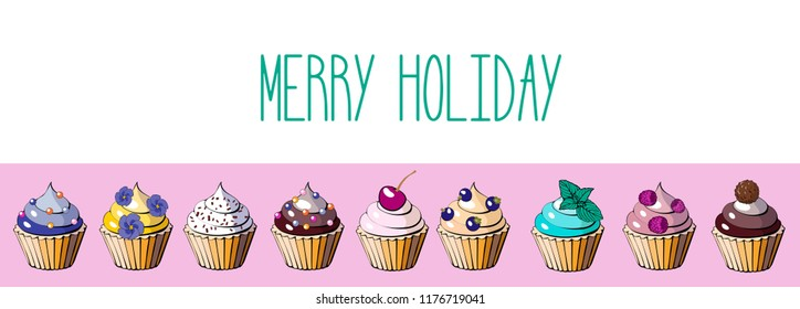 Capcake set baking cream mint sweetness dessert. Hand drawn food icons isolated on white background. Colorful elements for the menu collection of cafes and restaurants. merry holiday