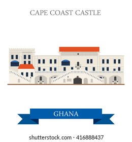 Cape Coast Castle in Ghana. Flat cartoon style historic sight showplace attraction web site vector illustration. World countries cities vacation travel sightseeing Africa collection.