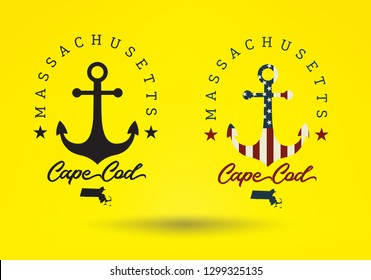 Cape Cod  Massachusetts USA logo design concept, with anchor and small map. Vector EPS 10.