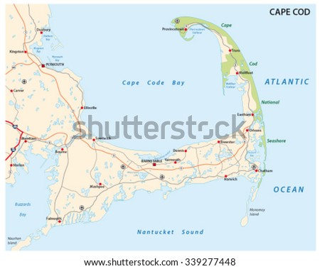 Cape Cod Road Map Stock Vector (Royalty Free) 339277448 - Shutterstock