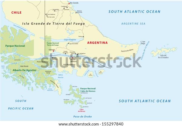Cape Horn Tierra Del Fuego Stock Vector (Royalty Free) 155297840