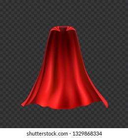 Cape isolated on transparent background. Red superhero cloak. Vector super hero cloth or silk flying cape template.