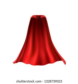 Cape isolated on white background. Red superhero cloak. Vector super hero cloth or silk flying cape template.