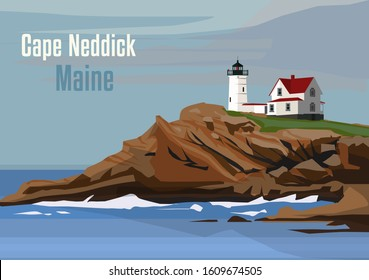 The Cape Neddick Light in Cape Neddick, York, Maine, United States. Vector illustration