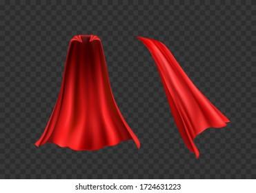 Cape set isolated on transparent background. Red superhero cloak. Vector silk flying super hero cloak cloth.