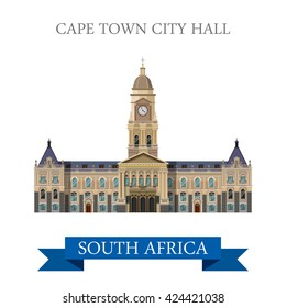 Cape Town City Hall in South Africa. Flat cartoon style historic sight showplace attraction web site vector illustration. World countries cities vacation travel sightseeing Africa collection.