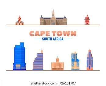 Cape Town landmarks on a white background. Isolated objects. Flat vector illustration. Business travel and tourism concept with modern buildings. Image for banner or web site.