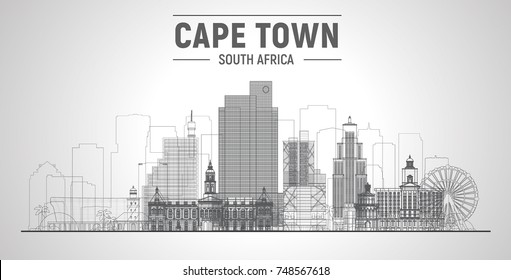 Cape Town line skyline with panorama in white background. Vector Illustration. Business travel and tourism concept with modern buildings. Image for presentation, banner, web site.