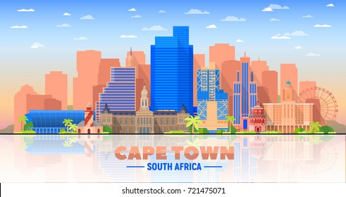 Cape Town skyline with panorama in white background. Vector Illustration. Business travel and tourism concept with modern buildings. Image for presentation, banner, web site.