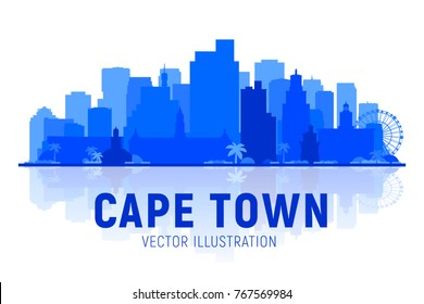 Cape Town skyline silhouette with panorama in white background. Vector Illustration. Business travel and tourism concept with modern buildings. Image for presentation, banner, web site.