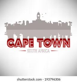 Cape Town South Africa, Skyline Design, vector illustration.