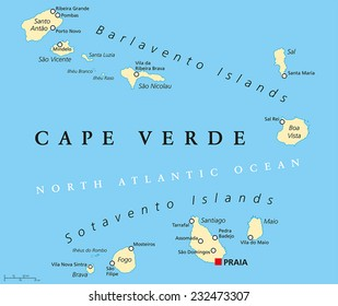 Cape Verde Political Map with capital Praia and important cities. English labeling and scaling.
