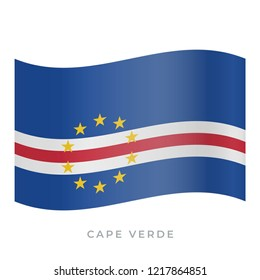 Cape Verde waving flag vector icon. National symbol of Cape Verde. Vector illustration isolated on white.