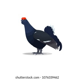 Capercaillie bird flat icon. Vector isolated botanical or zoology design of capercaillie or wood blackcock grouse and forest heather cock species for wildlife fauna and and nature zoo