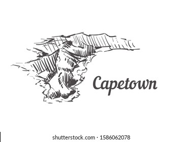 Capetown skyline sketch. Capetown hand drawn illustration isolated on white background.