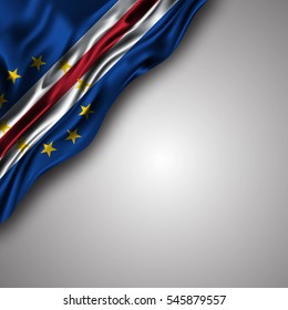 cape-verdean waving silky flag isolated on gray background, can be used in many topic like national day, Cape Verde independence day and any national and international  events