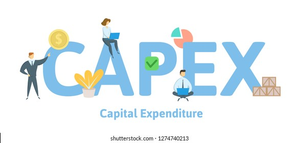 CAPEX, Capital Expenditure. Concept with keywords, letters and icons. Colored flat vector illustration. Isolated on white background.