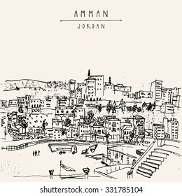 Capital city of Amman, Jordan, Middle East. Black and white vintage artistic hand drawn postcard or poster in vector