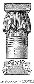 Capital, convex, moulded, stucco, second, concave, vintage line drawing or engraving illustration.