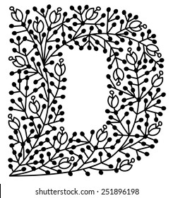 Capital D in floral pattern, can be used as paper cut. All parts are connected.