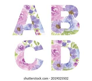 Capital english letters set. Vector watercolor alphabet, digital brush strokes, flowers paint patterns.