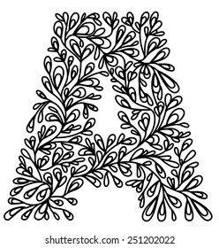 Capital A in floral pattern, can be used as paper cut template. All parts are connected.