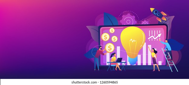 Capital fund financing small firm with high growth potential. Venture capital, venture investment, venture financing, business angel concept. Header or footer banner template with copy space.