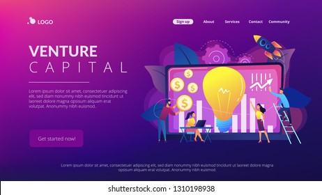 Capital fund financing small firm with high growth potential. Venture capital, venture investment, venture financing, business angel concept. Website vibrant violet landing web page template.